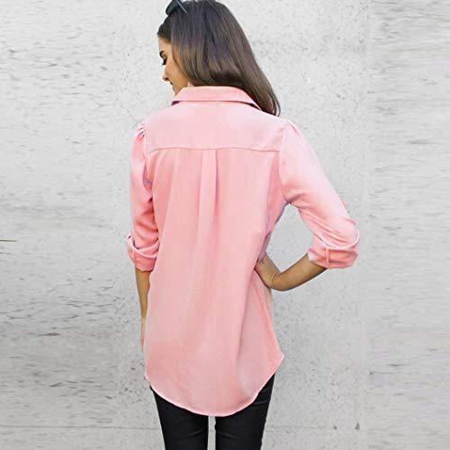 Top Autunno BaZhaHei Donna Camicia Elegante Sciolto Maglietta Lunghe Maniche Top Rosa a Moda Lunga Manica Donna Casuale Lunghe Blusa Camicetta Maniche Pulsante 55ZqSrTx