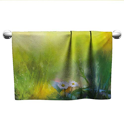 alisoso Flower,Personalized Towels Oil Paint Print Daisies in Field Blurry Effects Nature Depiction Artistic Manner Bath Towels for Kids Green White W 35
