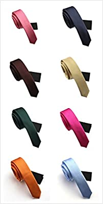 Elviros Mens Solid Eco-friendly Fashion Skinny Tie 1.6'' [4cm] 15 Colors