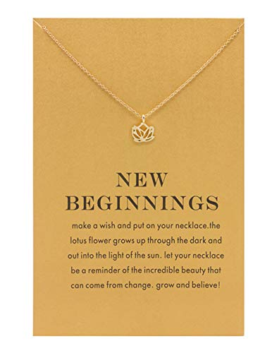 Aikooch Zealmer Dainty Lotus Necklace New Beginning Wish Card for Women Girls