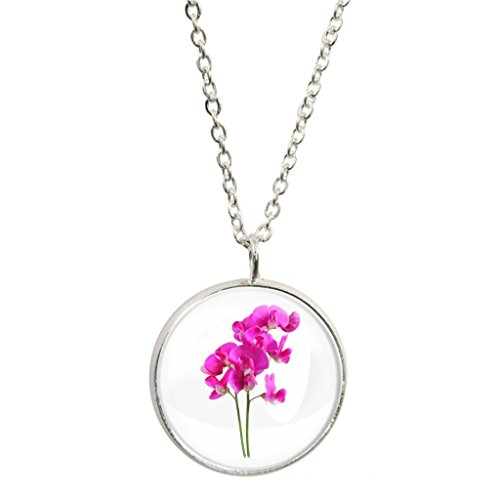 (Sweet Pea Image Design Silver Plated Pendant and Necklace in Gift Box)