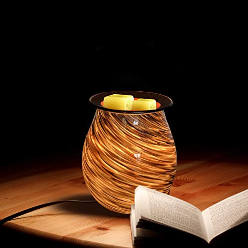 HEUNG HOI Electric Wax Warmer Art Glass Scented Oil Warmer Tart Burner for Wax Melts Fragrance Candle Night Light Aroma Decorative Lamp for Gifts & Decor, Home, Office, Bedroom, Living Room (BG)
