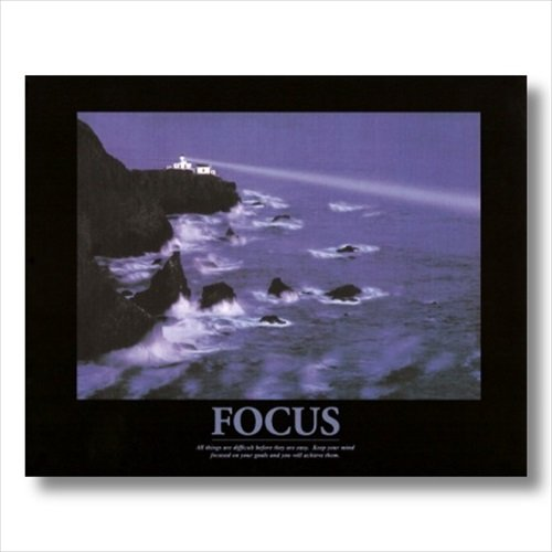 FOCUS Motivational Ocean Lighthouse Wall Picture 16x20 Art Print