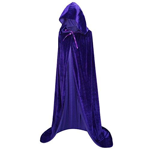 Hooded Robe Blue (Unisex Full Length Hooded Robe Cloak Long Velvet Cape Cosplay Costume 59