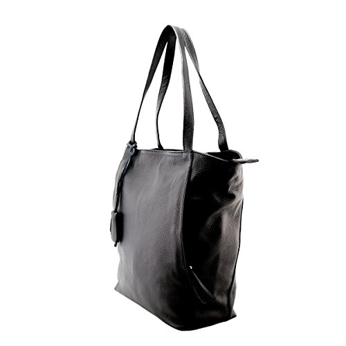 Shopper In Vera Pelle Colore Nero - Pelletteria Toscana Made In Italy - Borsa Donna