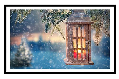 Black Solid Wood Large Frame 10X13 Lantern Twigs Snowy Christmas Art Print - Wall Hanging Home Decor