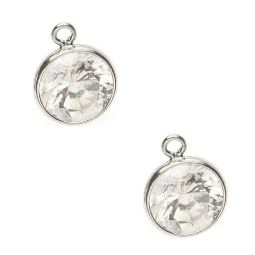 Sterling Silver Set Cubic Zirconia 6mm Round Drop Beads Crystal -