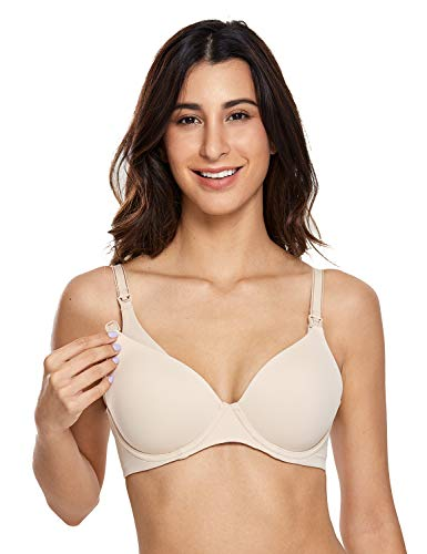 (Gratlin Women's Full Coverage Lightly Padded Underwire Contour Nursing Bra Beige 34B)