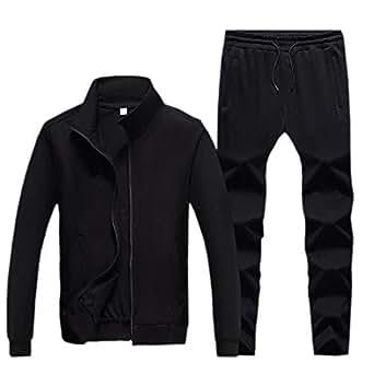 Mens Set Athletic Jogging Long-Sleeved Sport Casual Sports Set Black 2XL