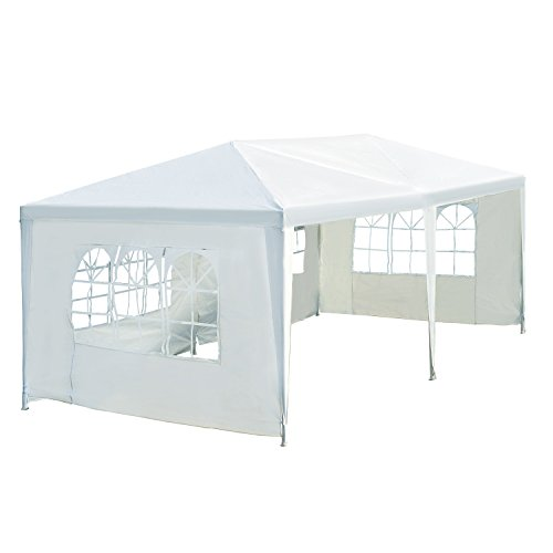 Outsunny 10' x 20' Gazebo Canopy Party Tent w/ 4 Removable Window Side Walls - White (Canopy Walls)