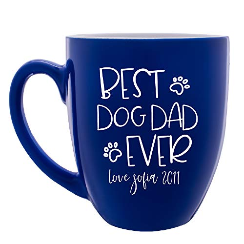 - Personalized Funny Best Dog Dad Ever Mug Customizable with Name & Date Custom Coffee Mug for Pet Owners Gifts | 16oz Large Ceramic 7 Different Color