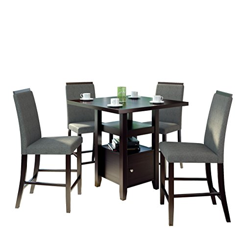 CorLiving DPP-690-Z2 5-Piece Bistro Counter Height Rich Dining Set, Cappuccino