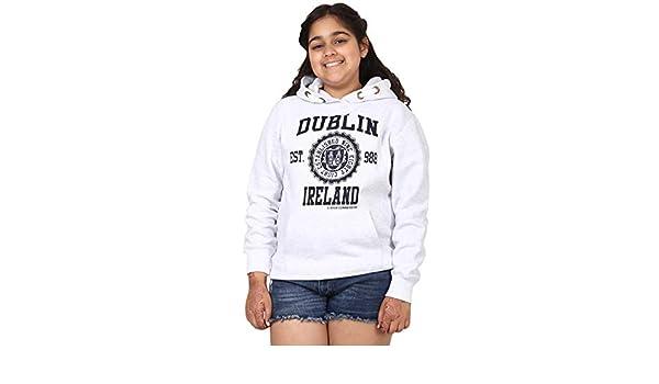 Ash Grey Colour Pullover Hoodie Varsity Style Dublin Print