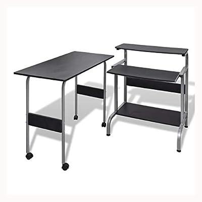 K&A Company Computer Desk Adjustable Workstation Black