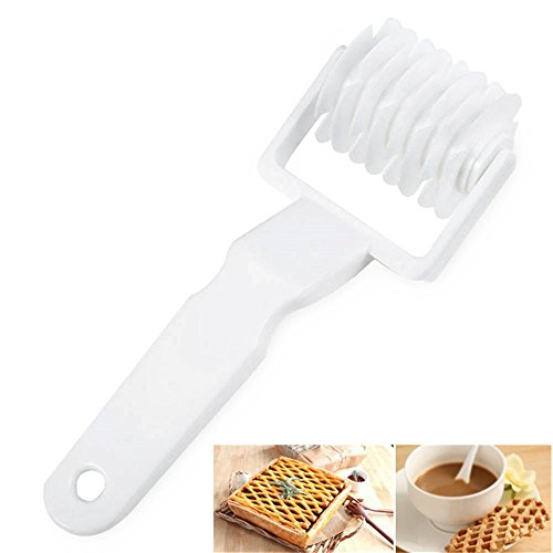 - None Baking Lattice Roller Pie Pizza Cookie Cutter Pastry Tools DIY Bakeware Embossing Dough Roller Lattice Craft Kitchen Tools (1, White)