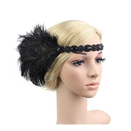 1920s Headpiece Feather Flapper Headband Great Gatsby Headdress Vintage Accessory (Black -