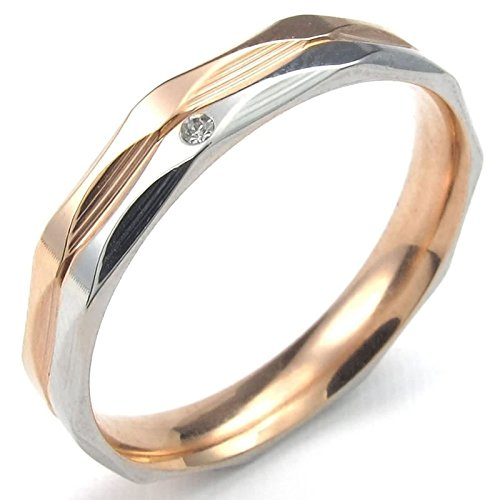 ANAZOZ Vintage Style Stainless Steel Rose Gold Plated Zirconia 4MM Women Wedding Ring Band Size 8