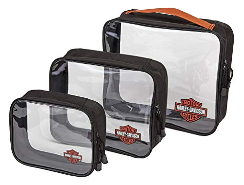 Harley Davidson Packing Cubes 3-pc Set, Rust/Clear