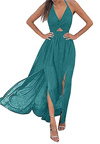 (YOMISOY Women Halter Chiffon Dresses Sexy V Neck Sleeveless Plain Swing Summer Beach Maxi Split Dress)