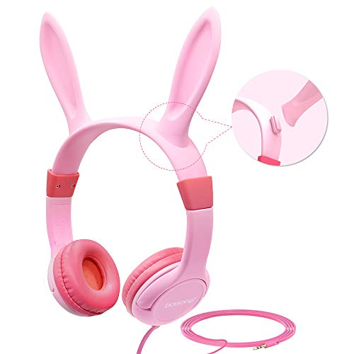 - Volume Limiting Kids Headphones Girls,85dB barsone Over Ear Wired Headset with Music SharePort,Food Grade Silicone,Cute Detachable Bunny Ears Headphones for School Children Toddlers Pink