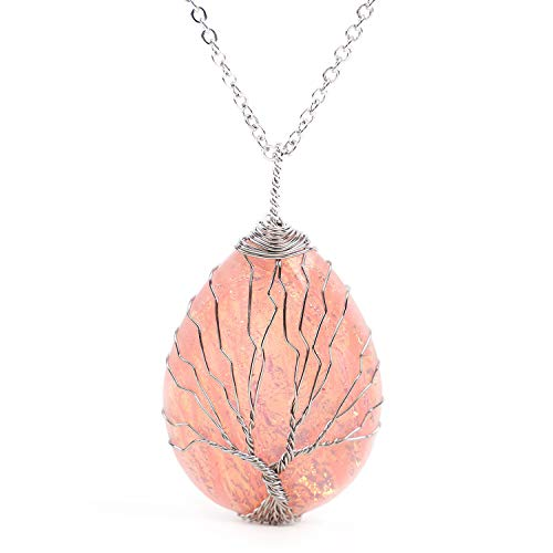 sedmart Tree of Life Teardrop HeartArtificial Opal Pendant Necklace Sliver Copper Wire Wrapped Healing Crystals Jewelry for Women Gift from sedmart