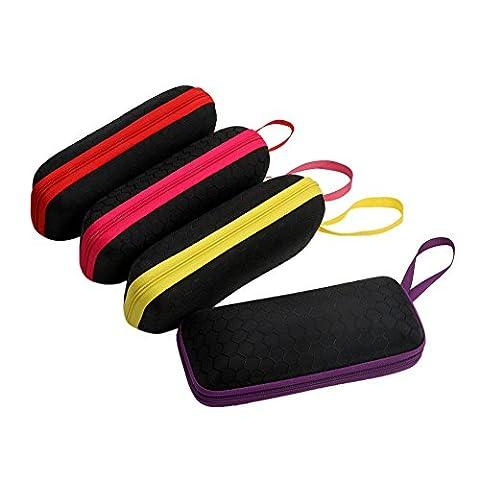 Hunulu Classic Portable Rectangle Grid Zipper Glasses Case Hard Eyewear Sunglasses Box (Aluminum Case Sunglasses)