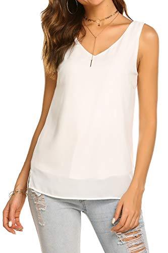 BLUETIME Women Summer Sleeveless Chiffon V Neck Side Slits Tank Tops Casual Chiffon Blouse Tunic Tops (M, White) (Chiffon Blouses And Tops)