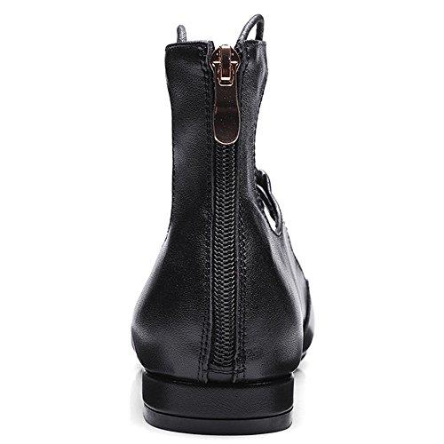 Leather Shoes Lace Handmade Comfort Pointy Nine Plain Flats Women's Black Genuine Up Toe Seven S7nq7w1pF