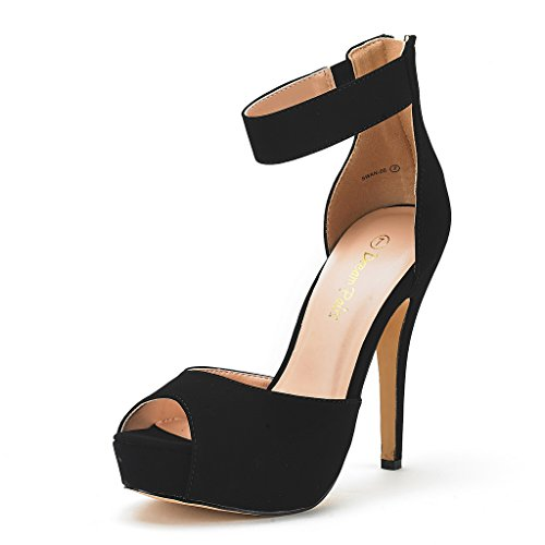 DREAM PAIRS SWAN-05 New Women's Ankle Strap Back Zipper Peep Toe High Heel Platform Pump Shoes,Black Nubuck,8.5 B(M) (Ankle Strap Peep Toe Heels)