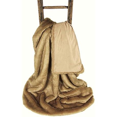 Kalahari Sand Luxury Faux Fur Throw Blanket 71 X 55 Inches
