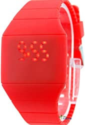 Unisex Plastic Touch Screen Watch Candy Color 2013 Latest Design Popular Promotional Price Red Color