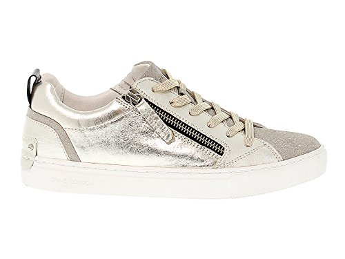 Crime London Women's 25233KS126 Silver/Gold Leather Sneakers 0IBJkRvUKX