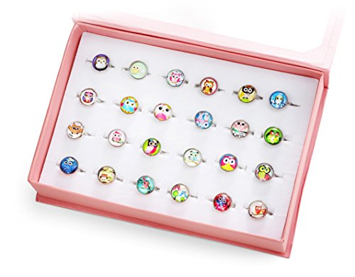 PinkSheep Owl Rings for Girls Kids, Pure Copper Rings, 24PCS, Adjustable and No Duplication