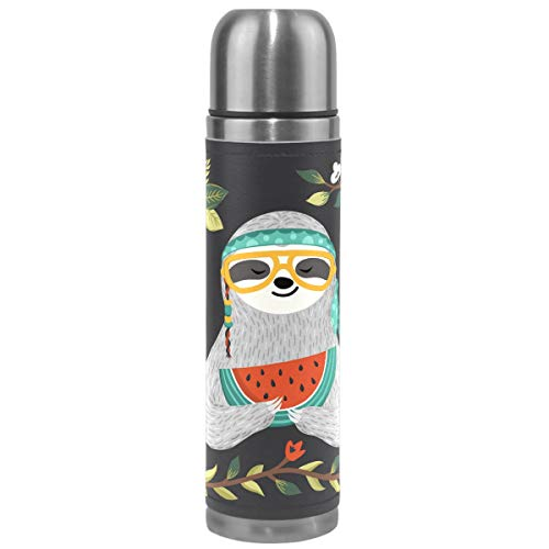 Wamika Cute Sloth Vacuum Insulated Stainless Steel Water Bottle, Sloth Animal in Glass Watermelon Flower Leaves Sports Coffee Travel Mug Thermos Cup Genuine Leather Cover Double Walled BPA Free 17 Oz by Wamika