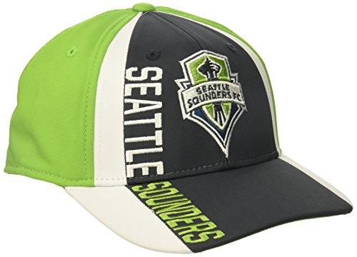 adidas MLS Seattle Sounders FC Adult Men Cut 'N Sew Curved Visor Flex, Small/Medium, Grey/Green ()