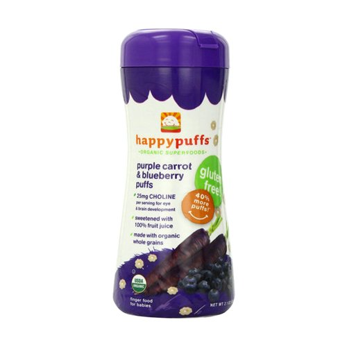 Happy Baby Happy Bites Puffs - Organic HappyPuffs Purple Carrot and Blueberry - 2.1 oz