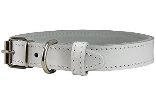 Genuine Leather Dog Collar White 4 Sizes (11.5