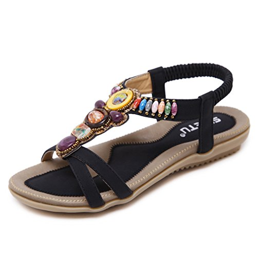 ZOEREA Women Sandals Adjustable-strap Lady Retro Beaded Shoes Summer Classic