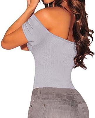 SUBWELL Women Off Shoulder Short Sleeve Bodycon Stretchy Leotard Bodysuit White