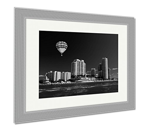 Ashley Framed Prints The Highrise Buildings In Miami Beach, Wall Art Home Decoration, Black/White, 30x35 (frame size), Silver Frame, - Miami Beach Bayside