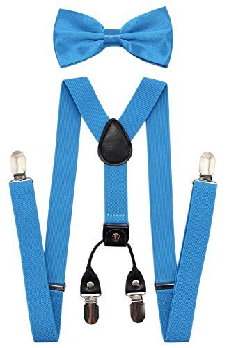 JAIFEI Men's 4 Clips Suspenders and Pre Tied Bow Tie Set for Tuxedo Wedding (Turquoise) -