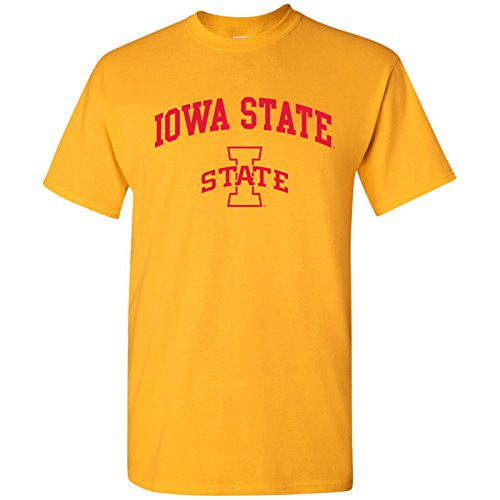 (UGP Campus Apparel Iowa State Cyclones Arch Logo T-Shirt - Medium - Gold)