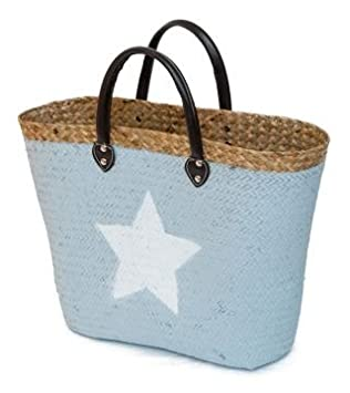 Straw Shopping Bag Grey with White Star Beach Bag Shopping Bag ...