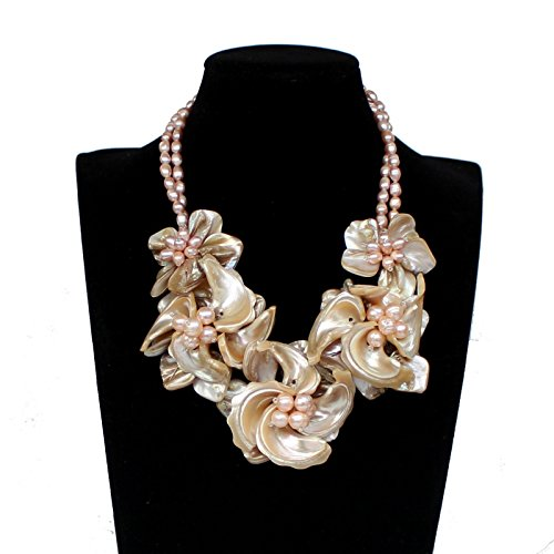 - Hand-woven Natural FW Pearl Mop Shell Flower Necklace Wedding Bridal Jewelry Statement Chunky Necklace Bib Necklace