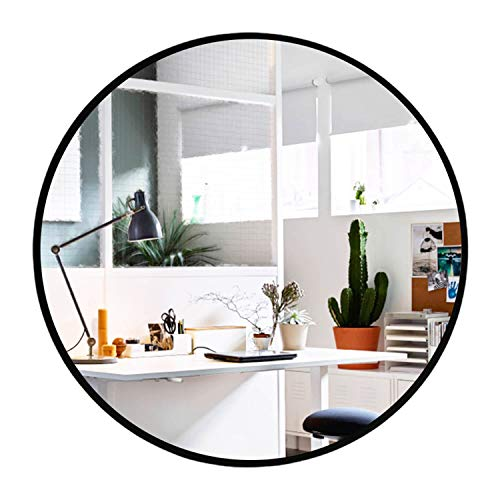 Elevens Wall Round Mirror - Popular 32 Inch Round Wall Mounted Decorative Mirror - Metal Frame, Best for Vanity Washrooms Bathroom and Living Rooms- Black (Large Mirror Black)