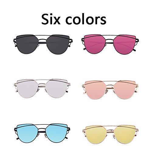Pink Color Con Planos Oculares De sol de Metálica Gafas BSNOWF Montura Gato Lentes Reflejo Pink Mujer UV400 60nZwUFR