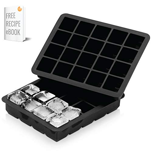 Black White Ice Cube - Arctic Chill - Silicone 1'' Ice Cube Tray, Set of Two