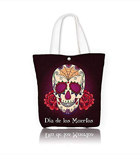 Canvas Shoulder Hand Bag Sugar Skull women Large Work tote Bag Shoulder Travel Totes Beach W21.7xH14xD7 INCH