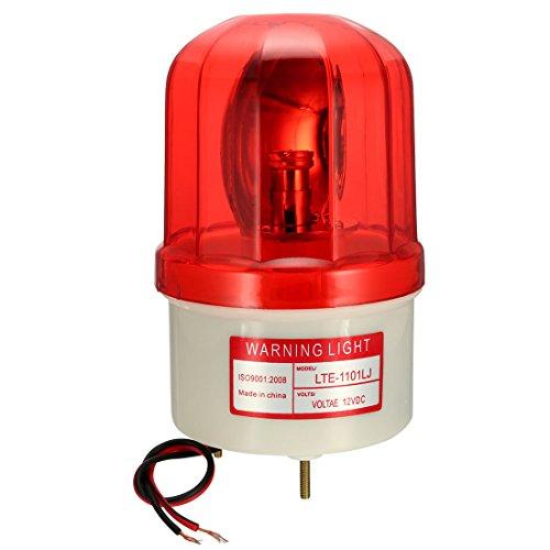 uxcell LED Warning Light Rotating Flashing Industrial Signal Alarm Tower Lamp Buzzer 90dB DC 12V Red LTE1101LJ