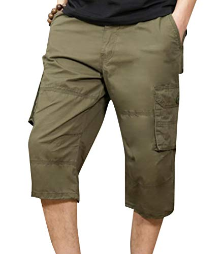 Tootless-Men Washed Multi-Pockets Twill Fabric Cargo Pants with Belt Green M